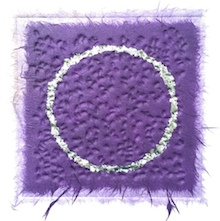 Amethyst - embossed collage embellished with aluminium leaf