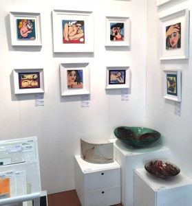 Eryka Isaak glass and  Linda Samson paintings
