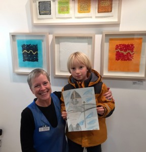 """Gill and young artist with """"Viking Seal on a Rock"""""""