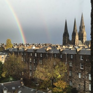 Rainbows welcome us to Edinburgh