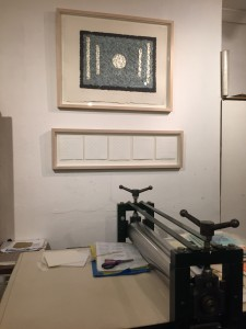 Visitors enjoy seeing the etching press which I use to emboss my collages.