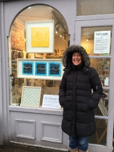 Standing in the snow outside Skylark Galleries 1 My work in window!