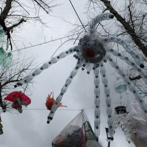 Mutant sea creatures made with recycled plastic waste by local children